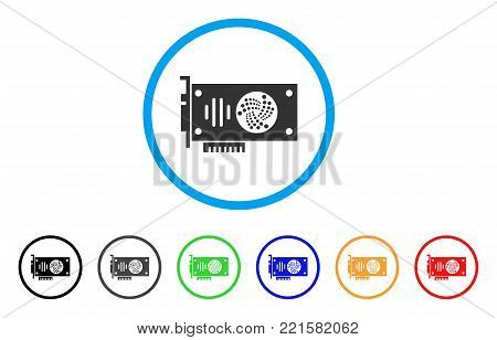 Iota Gpu Card rounded icon. Style is a flat grey symbol inside light blue circle with additional colored versions. Iota Gpu Card vector designed for web and software interfaces.