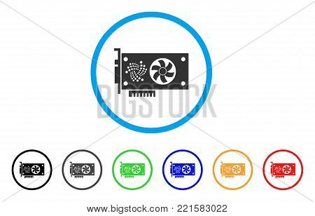 Iota Video Gpu Card rounded icon. Style is a flat gray symbol inside light blue circle with additional colored versions. Iota Video Gpu Card vector designed for web and software interfaces.