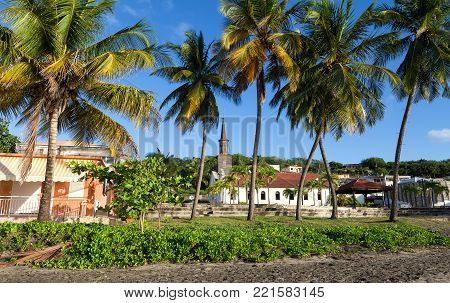 The Saint Thomas church and palm trees in the foreground , Diamant city, Martinique island, French West Indies.