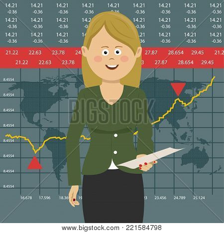 Anchorwoman on tv broadcast news. Media on television concept with globe map background, breaking news