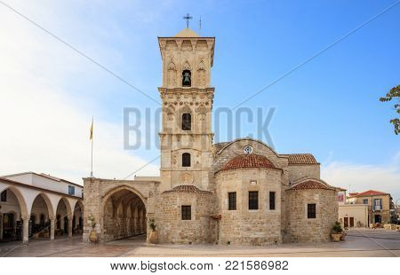 Agios Lazaros, an orthodox church under blue sky with few clouds, at Larnaca, Cyprus.