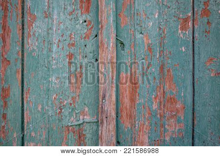 Green, wooden, brown, blank, vintage, peeled backdrop. Space for text, abstract, close up, details.
