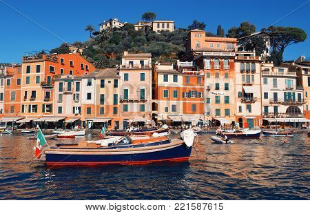 Traditional houses in Italy. in Portofino town