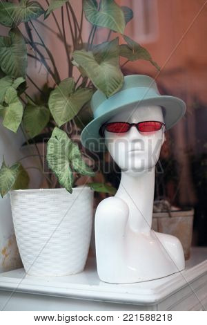 woman bust mannequin with hat and glasses
