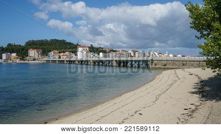 O GROVE, SPAIN - SEPTEMBER 15, 2017: Cityscape of O Grove on the coast of Galicia on September 15, 2017 in Spain