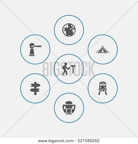 Collection Of Arrows, Booth, Seamark And Other Elements.  Set Of 7 Journey Icons Set.