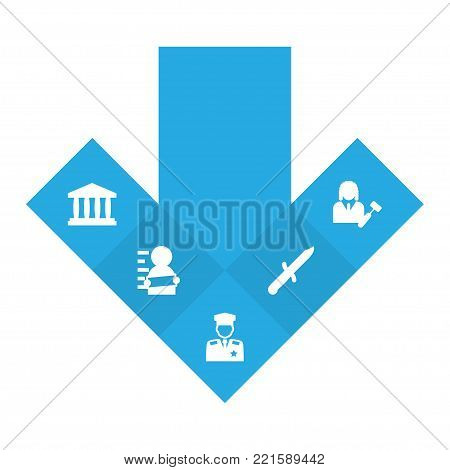 Collection Of Lawyer, Policeman, Bayonet And Other Elements.  Set Of 5 Criminal Icons Set.
