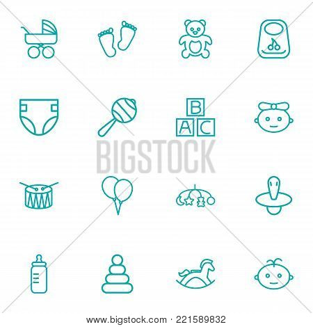 Collection Of Nipple, Teddy, Bib And Other Elements.  Set Of 16 Child Outline Icons Set.