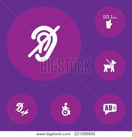 Collection Of Mute, Ad, Braille And Other Elements.  Set Of 6 Accessibility Icons Set.