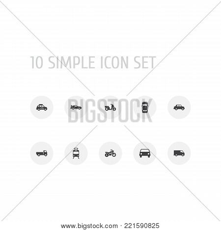 Collection Of Side View, Lorry, Streetcar And Other Elements.  Set Of 10 Transport Icons Set.