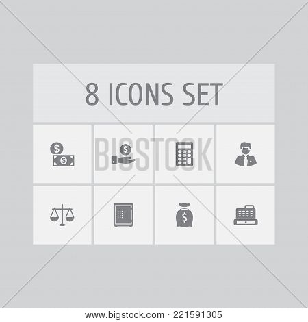 Collection Of Save Money, Strongbox, Worker And Other Elements.  Set Of 8 Finance Icons Set.