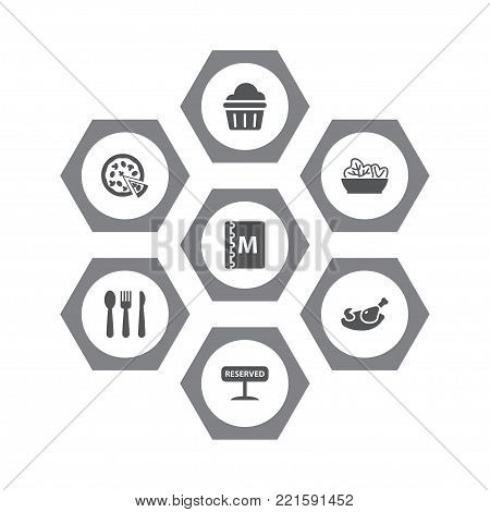 Collection Of Grill, Silverware, Pepperoni And Other Elements.  Set Of 7 Bar Icons Set.