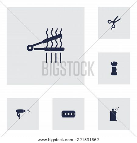 Collection Of Hairspray, Blow-Dryer, Razor And Other Elements.  Set Of 6 Barber Icons Set.