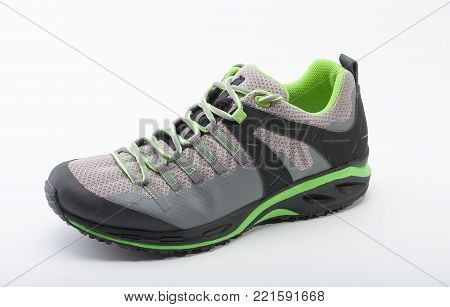 Outdoors shoe for man for different activities, trail running, free running, fast climbing, hiking, studio shoot on white background
