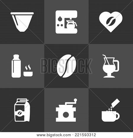 Collection Of Seed Pack, Latte, Espresso Dispenser And Other Elements.  Set Of 9 Drink Icons Set.