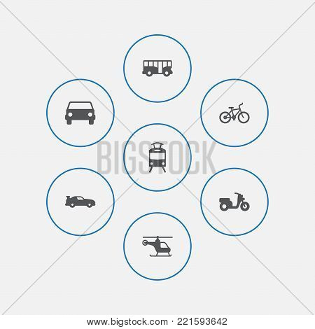 Collection Of Cabriolet, Autobus, Bicycle And Other Elements.  Set Of 7 Shipping Icons Set.