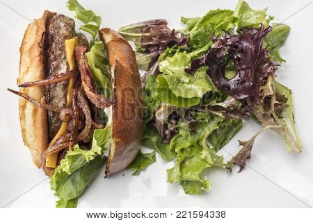 Splite hamburger with onios, bacon, lettuce and cheese plated with a green salad on a white plate