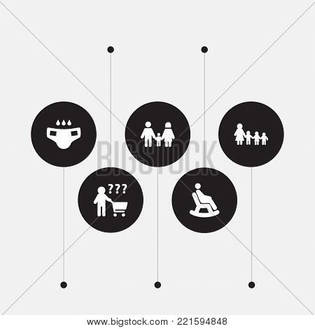 Collection Of Nanny, Rocking Chair, Nappy And Other Elements.  Set Of 5 Relatives Icons Set.