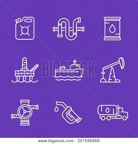 Petroleum industry, oil and gas production icons, linear style, eps 10 file, easy to edit