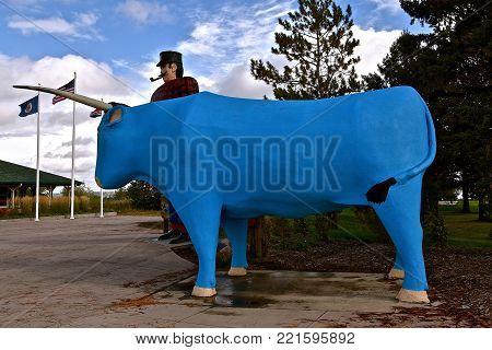 BEMIDJI, MINNESOTA, October 1, 2017: The legendary Paul Bunyan statute is a tourist attraction run by the parks system of Bemidji, Minnesota.