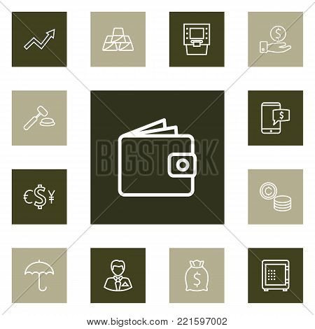 Collection Of Grow Up, Golden Bars, Atm And Other Elements.  Set Of 13 Budget Outline Icons Set.