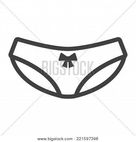 Women briefs line icon, valentines day and romantic, women underwear sign vector graphics, a linear pattern on a white background, eps 10.