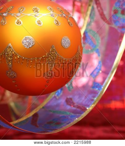 New Year's Sphere Of Yellow Color With A Tape