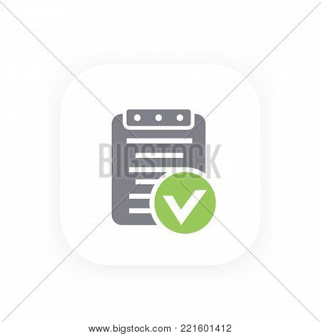 valid document icon, approved report, contract, eps 10 file, easy to edit
