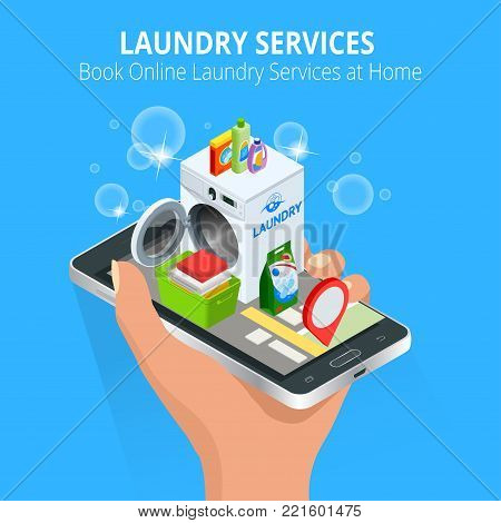 Isometric Woman hand using smartphone booking Online Laundry Service. Book Online Laundry Services at Home concept, App on the screen. Vector illustration.