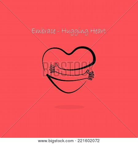 Embrace,Hugging heart symbol.Hug yourself logo.Love yourself logo.Love and Heart Care icon.Hand with Heart shape and healthcare & medical concept.Vector illustration
