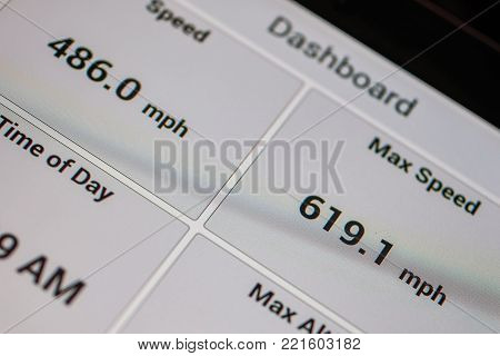 Screen gps navigator with speed sensors.  Measurement of the speed of flight.  Selective focus, close-up, cropped.