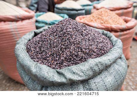 Purple brown rice market in Luang Prabang, Laos