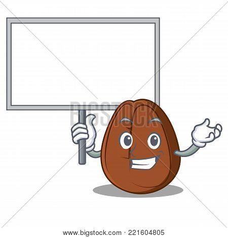 Bring board coffee bean character cartoon vector illustration