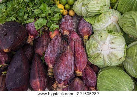 Fresh vegetable market in Luang Prabang, Laos