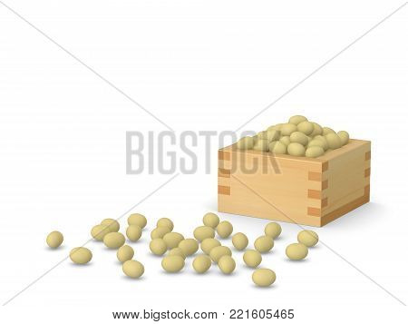 Japanese Beans for traditional February celebration Setsubun, 3D illustration