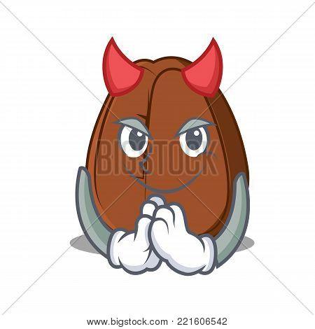 Devil coffee bean mascot cartoon vector illustration