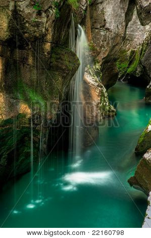 Small Waterfal In Soca River Valey Slovenia