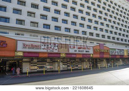 DOWNTOWN LAS VEGAS, LAS VEGAS, NEVADA, USA- NOVEMBER 11, 2017: Street view with Tony Roma's restaurant facade in a sunny day at Downtown Las Vegas