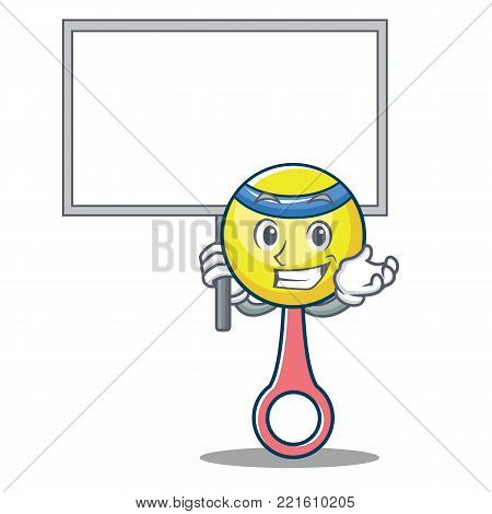 Bring board rattle toy character cartoon vector illustration