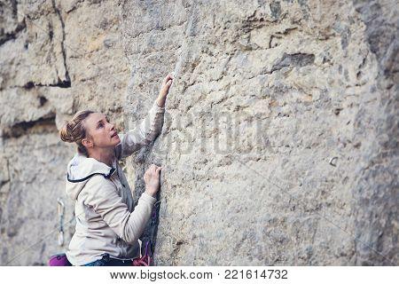 Rock Climber On A Rock.