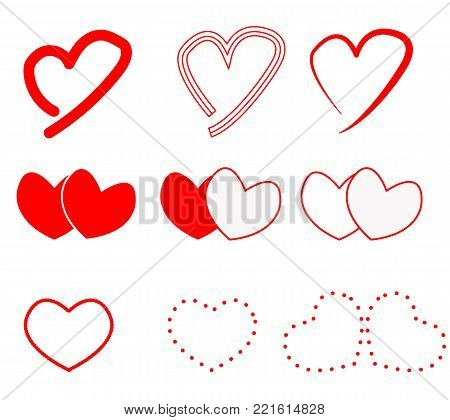 hearts icon on white background. hearts sign. flat style. hearts valentine's day. set of hearts.