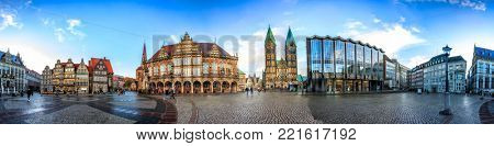 Skyline of Bremen main market square in the centre of the Hanseatic City, Germany. 360 degree panoramic montage from 27 images