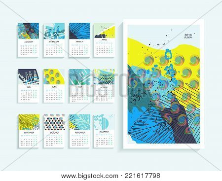 Calendar 2018. Abstract modern art monthly calendar 2018. Printable creative template.