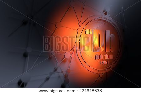 Dubnium chemical element. Sign with atomic number and atomic weight. Chemical element of periodic table. Molecule and communication background. Connected lines with dots. 3D rendering