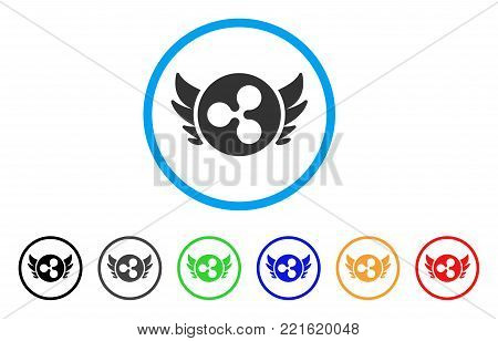 Ripple Angel Investment rounded icon. Style is a flat grey symbol inside light blue circle with bonus colored variants. Ripple Angel Investment vector designed for web and software interfaces.