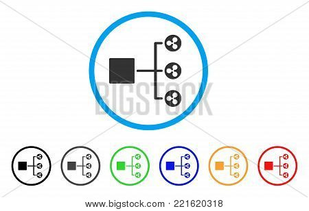 Ripple Structure Diagram rounded icon. Style is a flat grey symbol inside light blue circle with additional color variants. Ripple Structure Diagram vector designed for web and software interfaces.