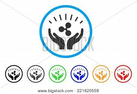 Ripple Prosperity Hands rounded icon. Style is a flat gray symbol inside light blue circle with bonus color versions. Ripple Prosperity Hands vector designed for web and software interfaces.
