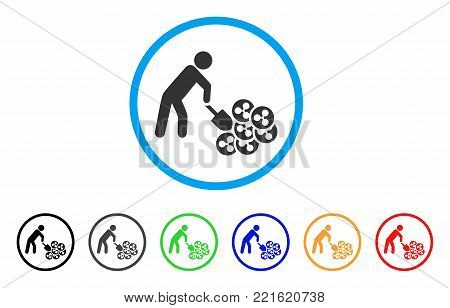 Person Digging Ripple rounded icon. Style is a flat gray symbol inside light blue circle with additional color versions. Person Digging Ripple vector designed for web and software interfaces.