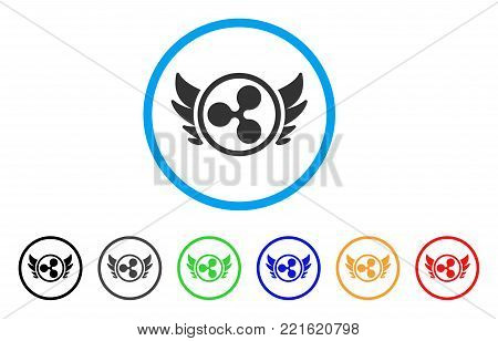 Ripple Angel Investment rounded icon. Style is a flat grey symbol inside light blue circle with bonus color variants. Ripple Angel Investment vector designed for web and software interfaces.