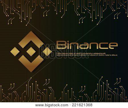 Backgroun blockchain binance design collection vector illustration